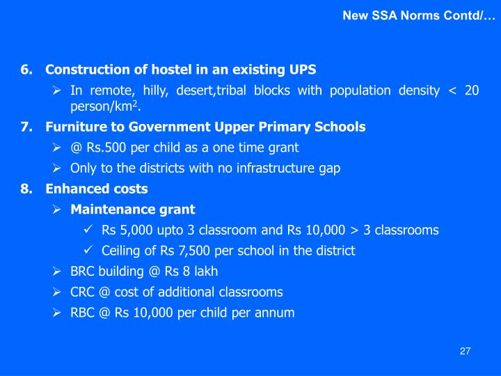 New SSA Norms Contd/…