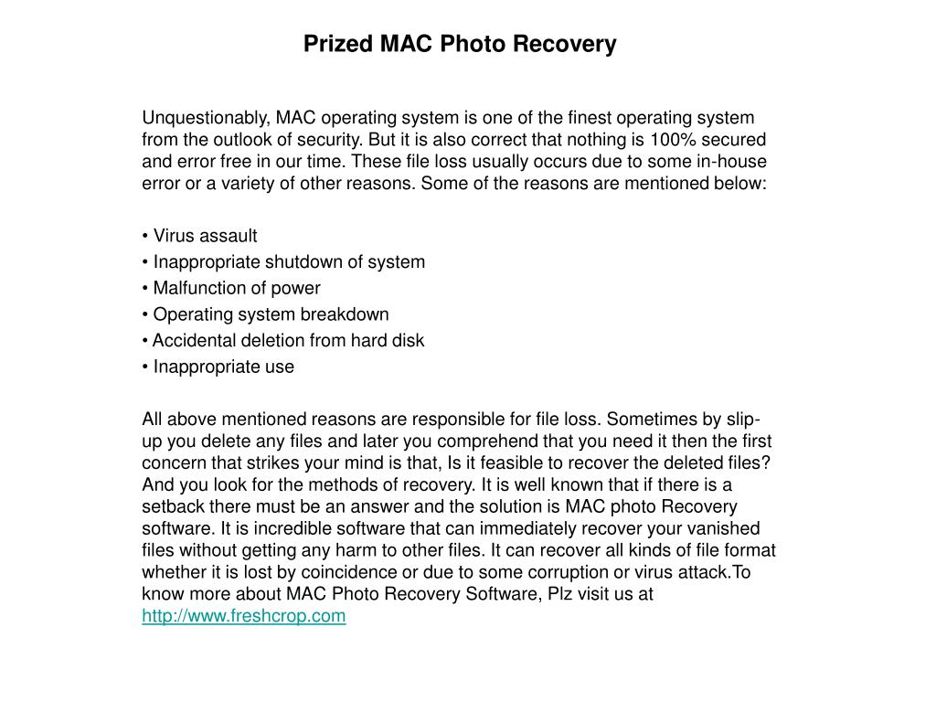 Prized MAC Photo Recovery
