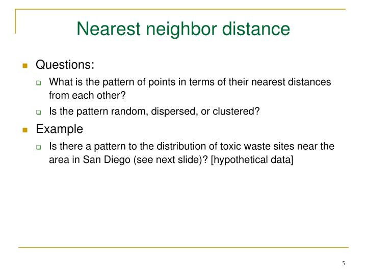 Nearest neighbor distance