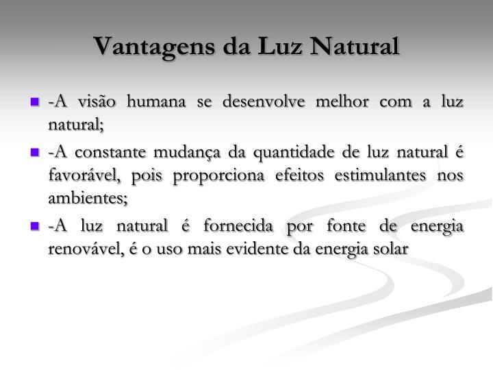 Vantagens da Luz Natural