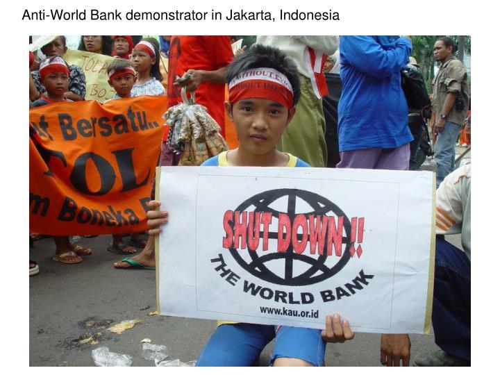 Anti-World Bank demonstrator in Jakarta, Indonesia