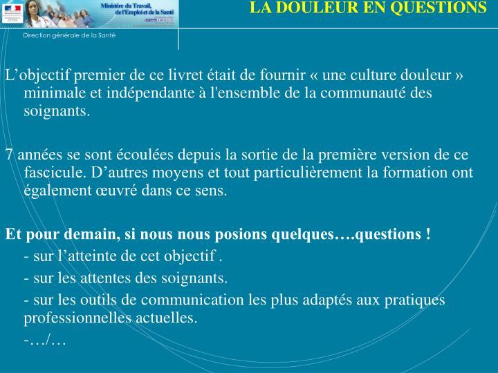 LA DOULEUR EN QUESTIONS