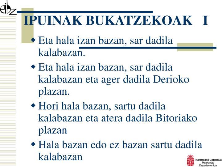 IPUINAK BUKATZEKOAK   I