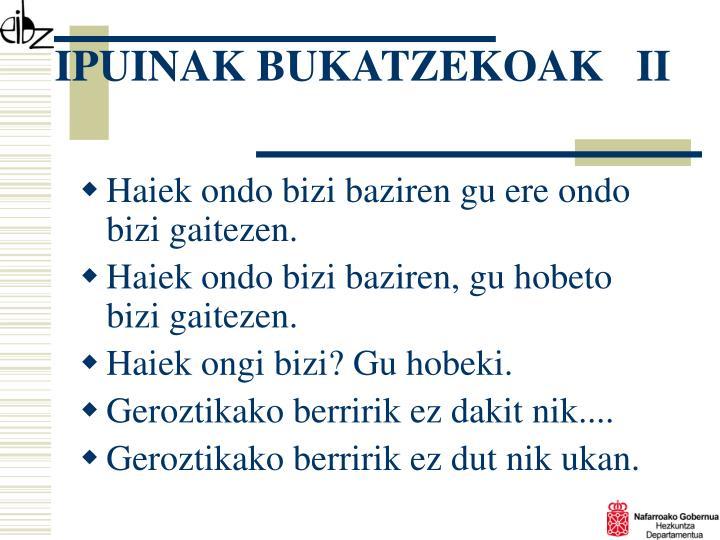 IPUINAK BUKATZEKOAK   II