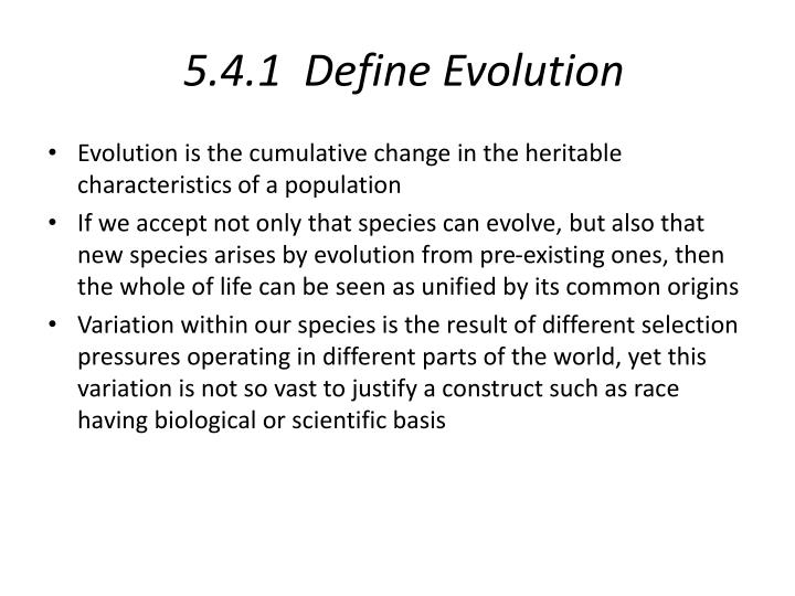 5 4 1 define evolution