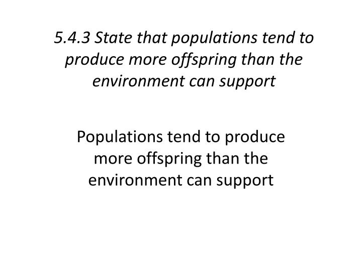 5.4.3 State that populations tend to produce more offspring than the environment can support