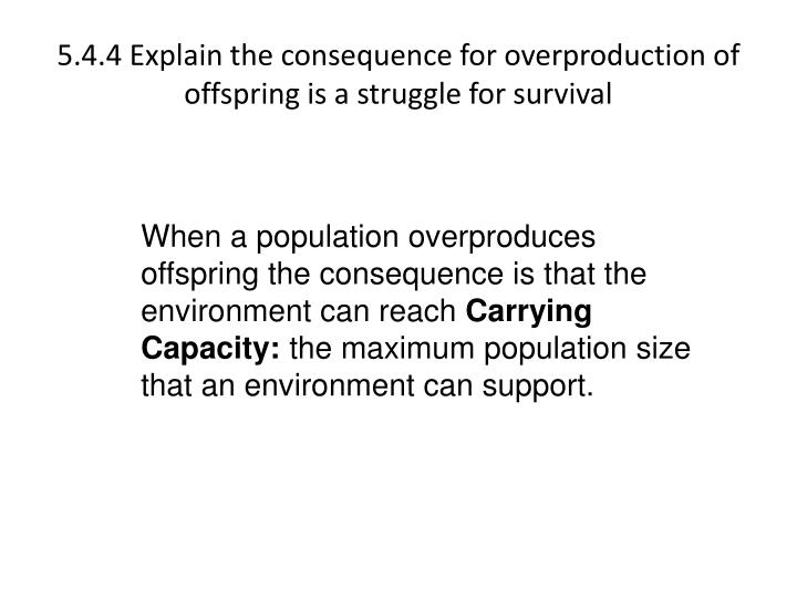 5.4.4 Explain the consequence for overproduction of offspring is a struggle for survival