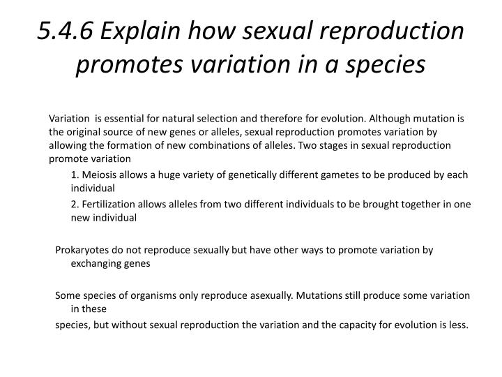 5.4.6 Explain how sexual reproduction promotes variation in a species