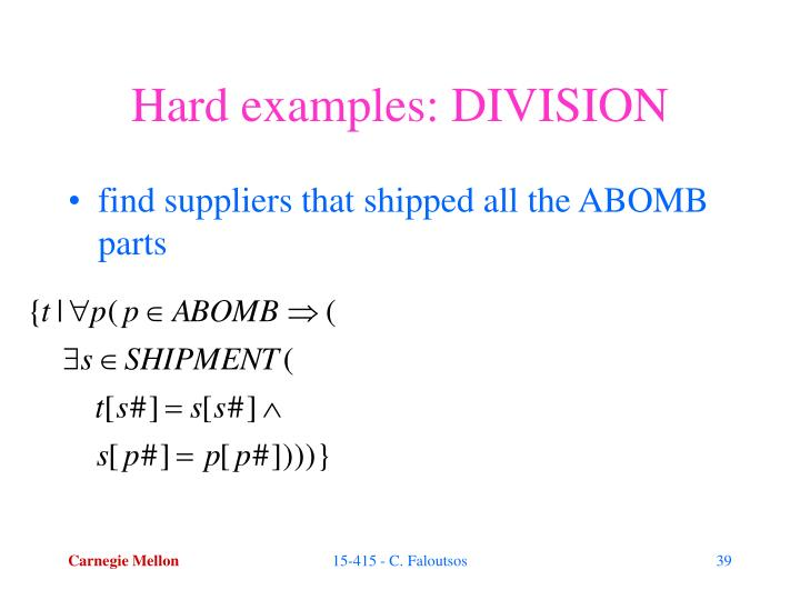 Hard examples: DIVISION