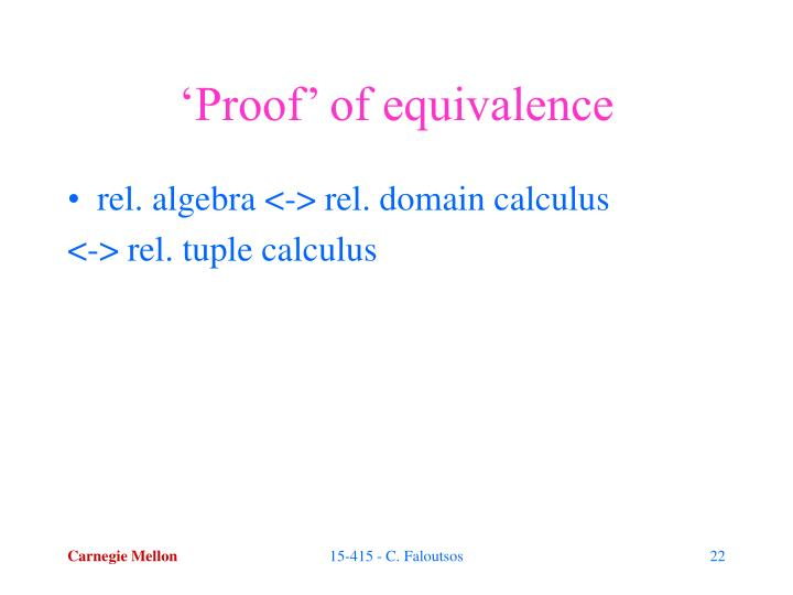 'Proof' of equivalence