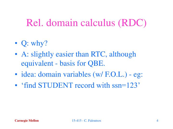 Rel. domain calculus (RDC)