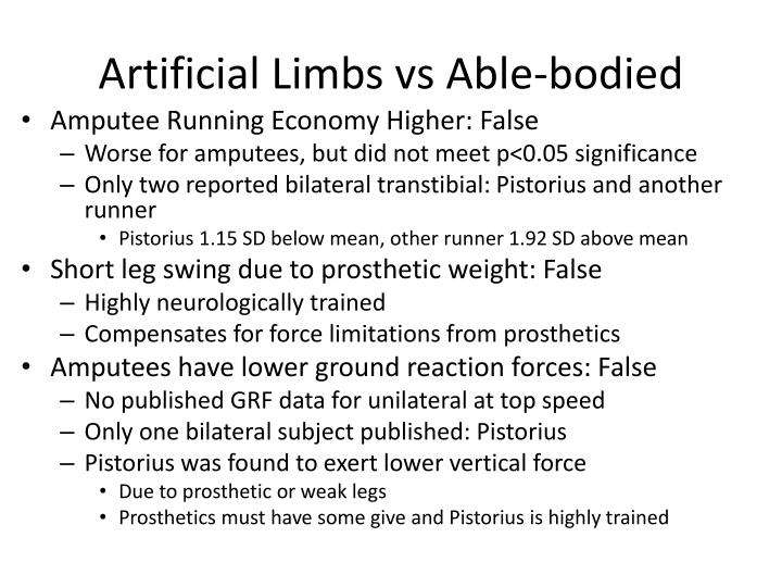 Artificial Limbs vs Able-bodied