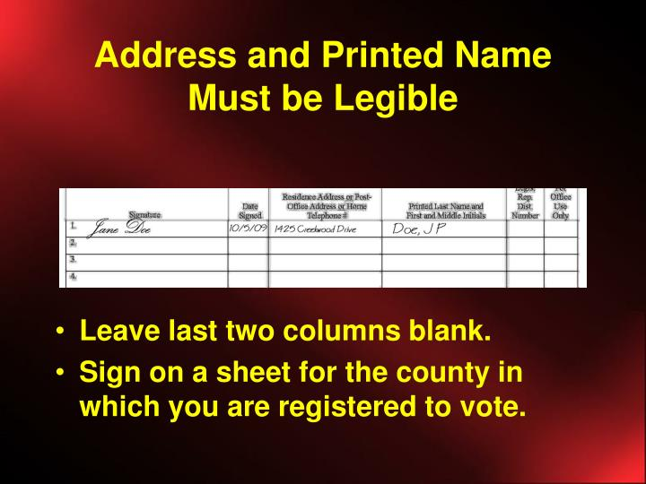 Address and Printed Name Must be Legible