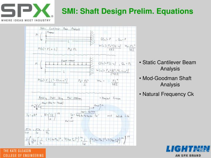 SMI: Shaft Design Prelim. Equations