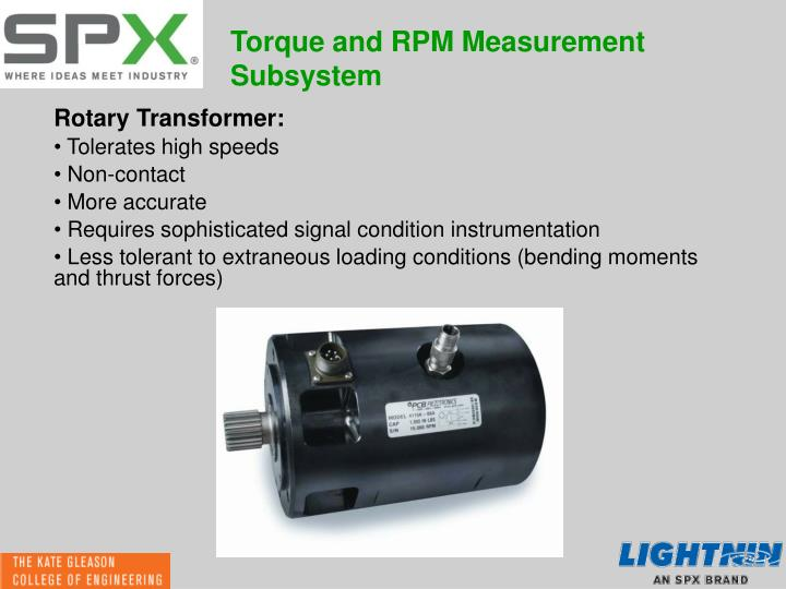 Torque and RPM Measurement Subsystem