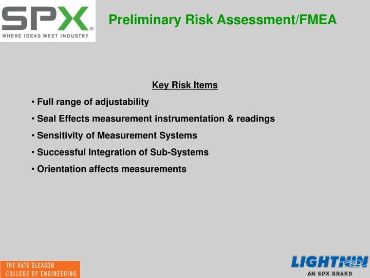 Preliminary Risk Assessment/FMEA