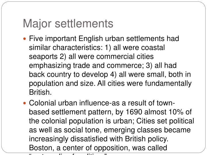 Major settlements