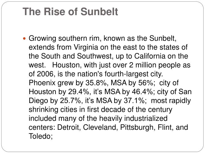The Rise of Sunbelt
