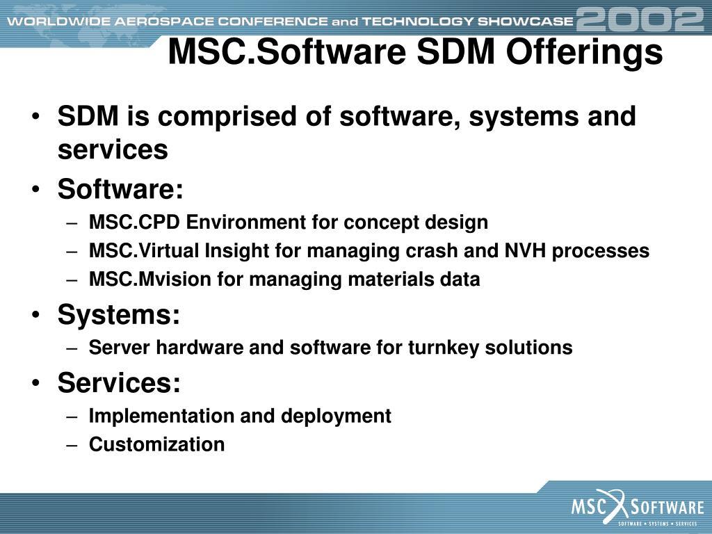 MSC.Software SDM Offerings