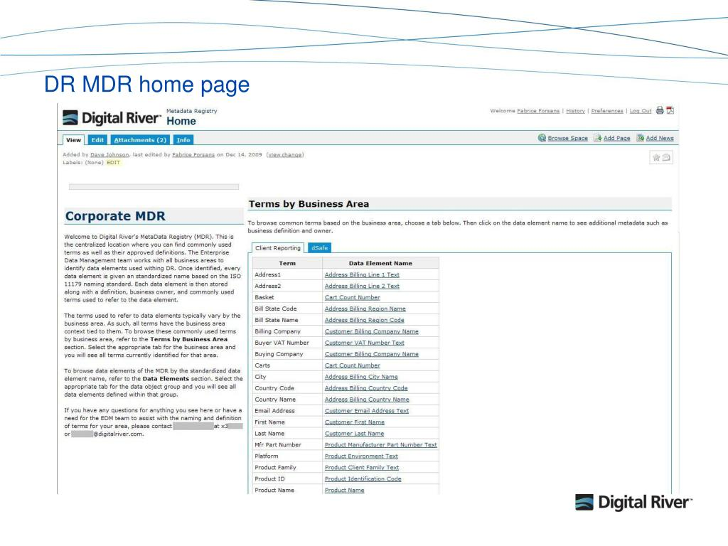 DR MDR home page