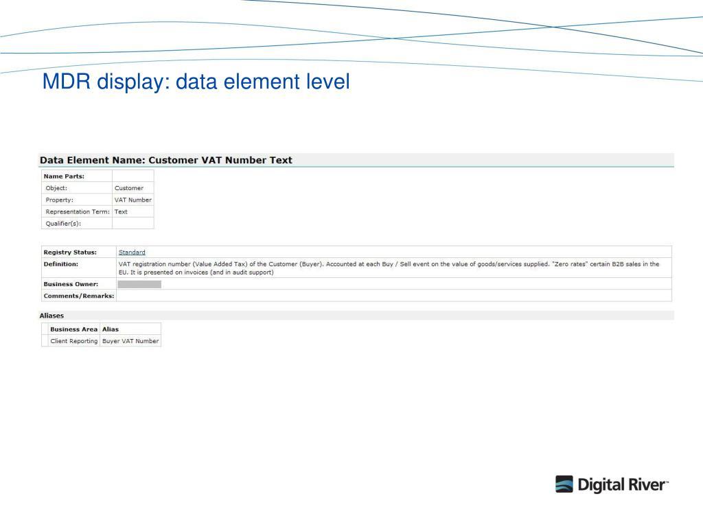 MDR display: data element level