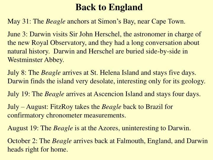 Back to England