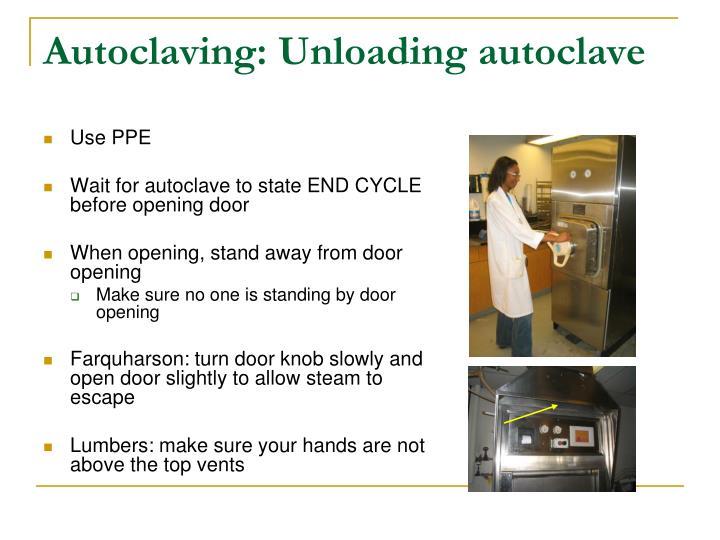 Autoclaving: Unloading autoclave