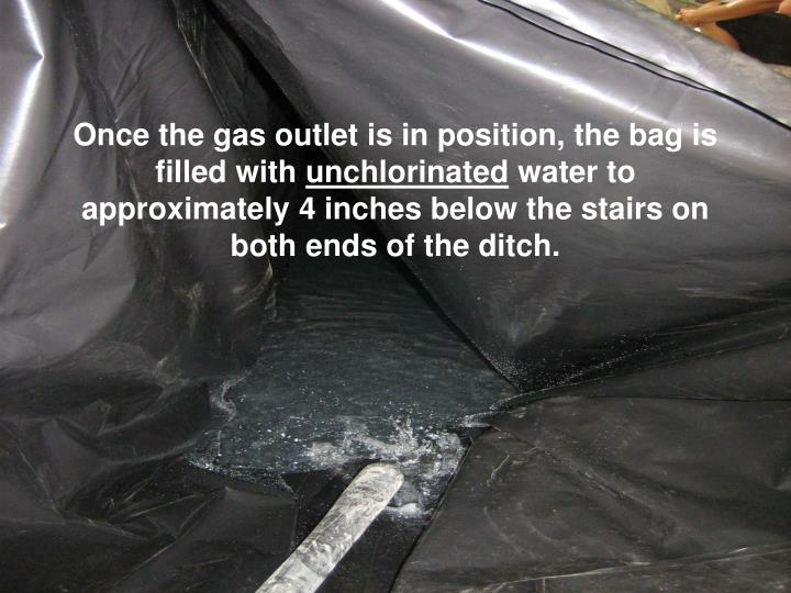 Once the gas outlet is in position, the bag is filled with