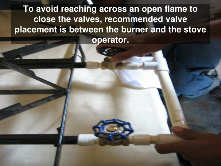 To avoid reaching across an open flame to close the valves, recommended valve placement is between the burner and the stove operator.