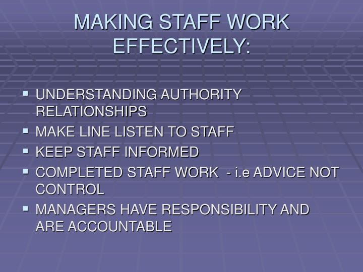 MAKING STAFF WORK EFFECTIVELY: