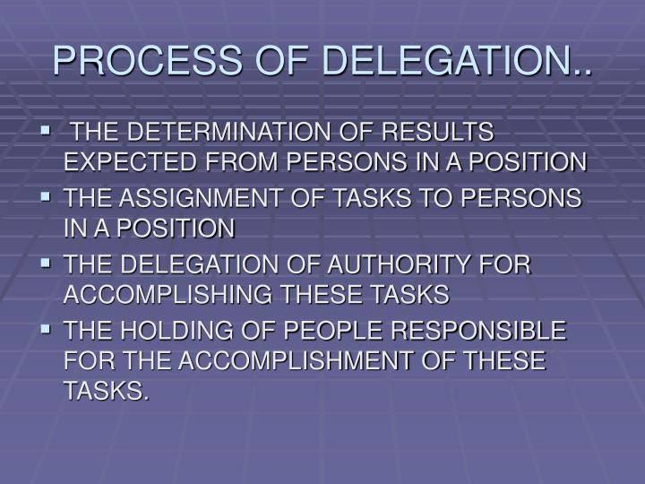 PROCESS OF DELEGATION..