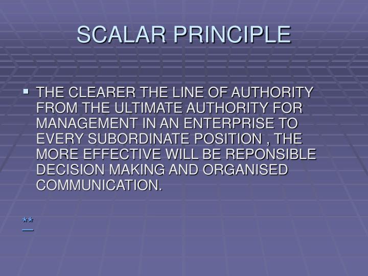 SCALAR PRINCIPLE