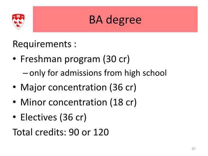 BA degree