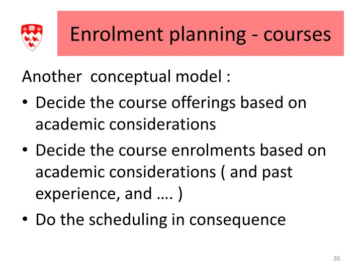 Enrolment planning - courses