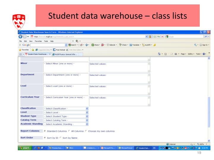 Student data warehouse – class lists