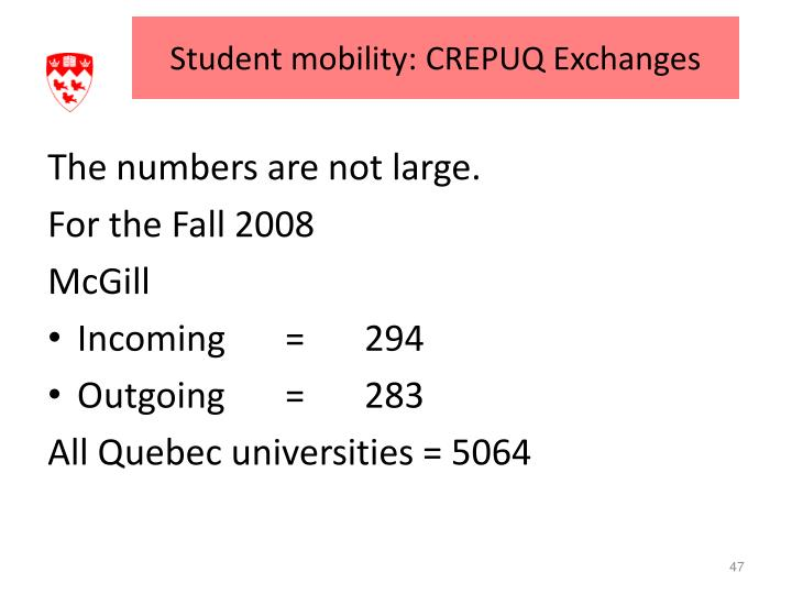 Student mobility: CREPUQ Exchanges