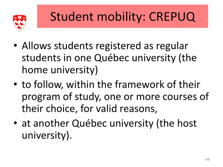 Student mobility: CREPUQ
