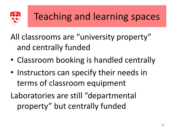 Teaching and learning spaces