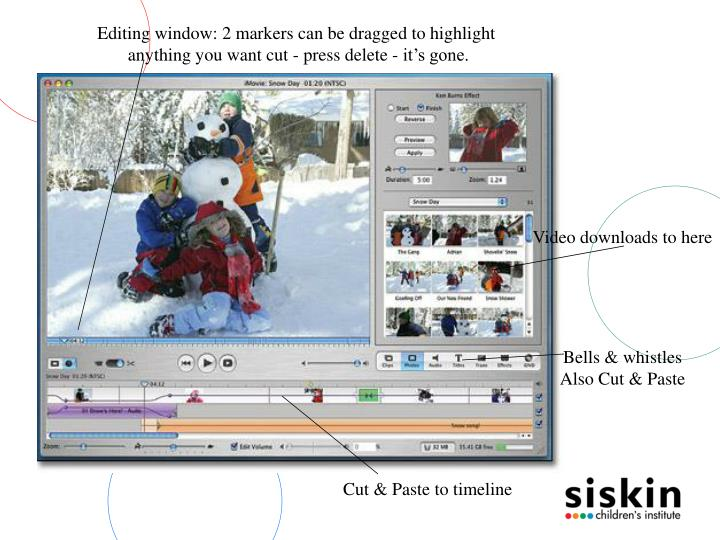 Editing window: 2 markers can be dragged to highlight