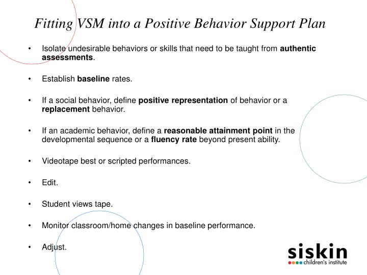 Fitting VSM into a Positive Behavior Support Plan