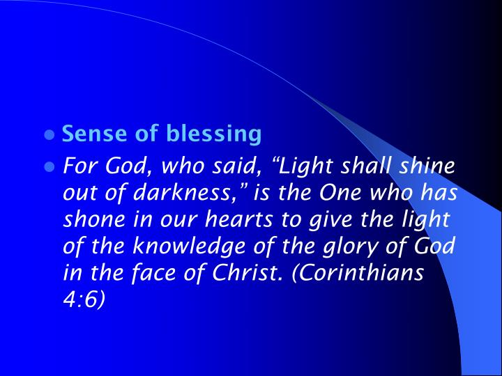 Sense of blessing