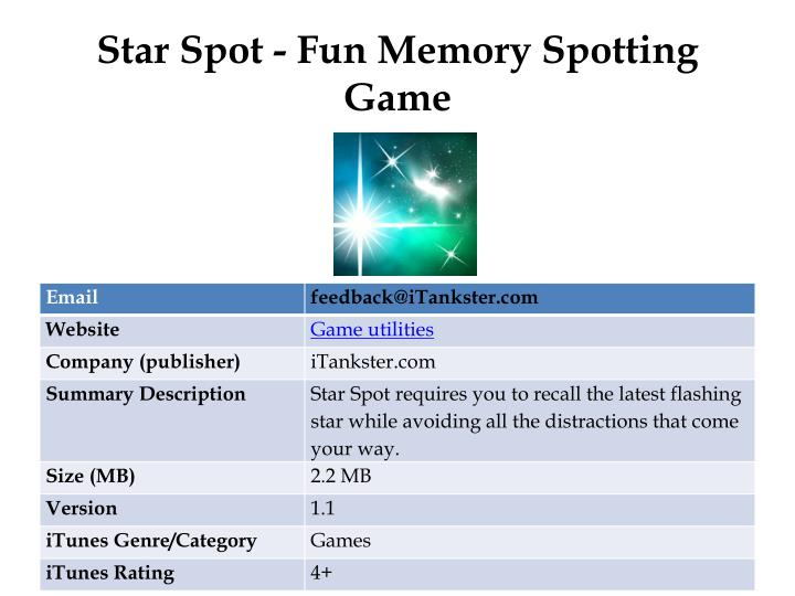 Star spot fun memory spotting game