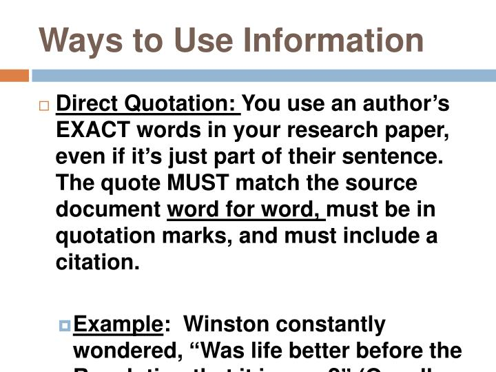 Ways to Use Information