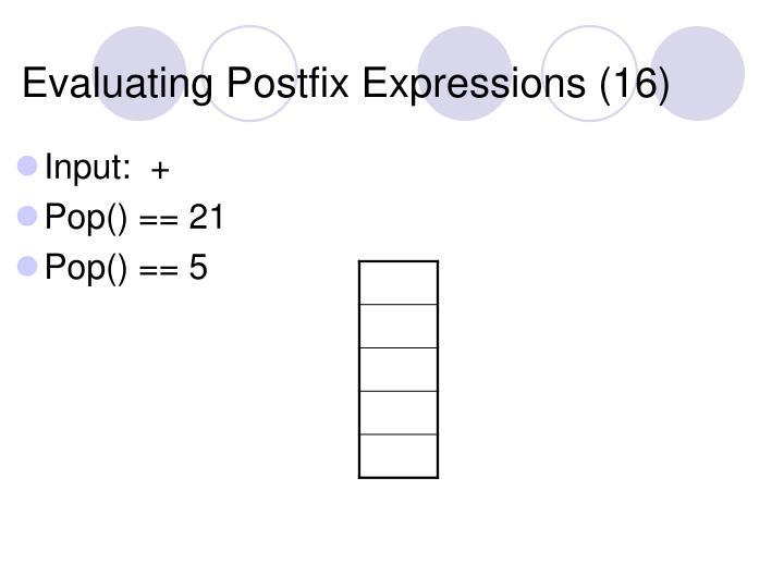 Evaluating Postfix Expressions (16)