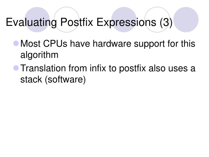 Evaluating Postfix Expressions (3)