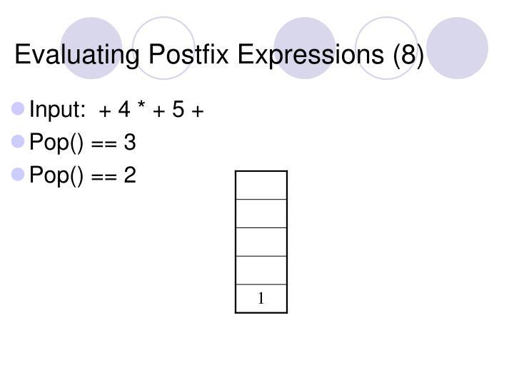 Evaluating Postfix Expressions (8)