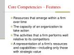 core competencies features