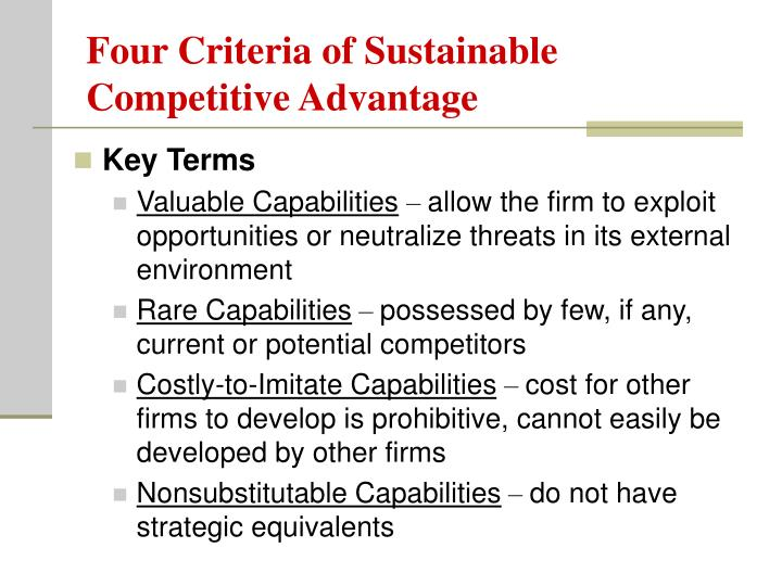 Four Criteria of Sustainable Competitive Advantage