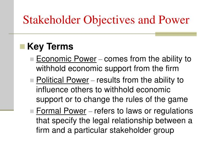 Stakeholder Objectives and Power