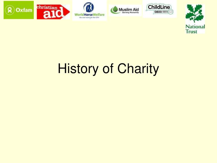 History of charity